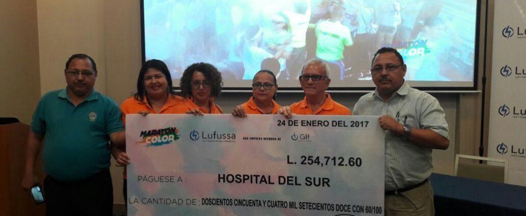Lufussa entregó un donativo de más de 250 mil lempiras al Hospital del Su